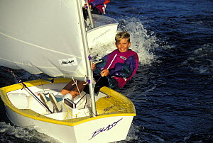 Young boy sailing an Optimist dinghy during training in Florida, USA. Model Released.  -  Onne van der Wal