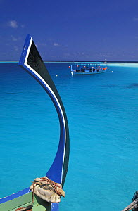 Characteristic bow of dhoni, a traditional Maldivian boat, with another dhoni in background, Maldives.  -  Roberto Rinaldi