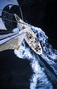 """View from the masthead of """"Drum"""" as she sails during the Whitbread Round the World Race, 1985.  -  Rick Tomlinson"""