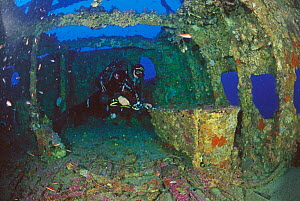 """Diver on Bowfield wreck, formerly called """"Relitto del Faro"""" (the lighthouse wreck), Messina, Italy. Model released.  -  Roberto Rinaldi"""