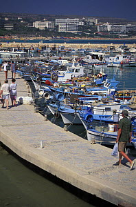 Tourists and fishing boats in a small harbour just outside Aya Napa, Cyprus. - Roberto Rinaldi