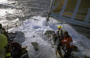 """Crew in rough conditions on """"The Card"""" in the Southern Ocean during the Whitbread Round the World Race, 1989-90. - Rick Tomlinson"""