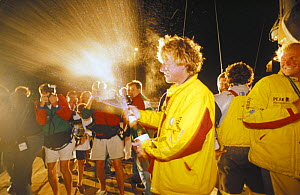 """British yachtsman Lawrie Smith, skipper of """"Intrum Justitia"""" celebrates winning the second leg of the Whitbread Round the World Race 1993-94. ^^^ The W60-class boat took 25 days, 14 hours, 39 minutes...  -  Rick Tomlinson"""