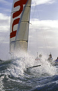 The Hyde Sails 18ft Skiff surfs through the waves. - Rick Tomlinson