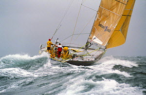 Intrum Justitia racing in the Round the World Race, 1993-94. ^^^Skippered by British yachtsman Lawrie Smith the team won the second leg of the race and broke a record in the process.  -  Rick Tomlinson