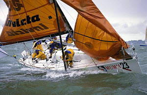 Spinnaker flying behind the yacht and the jib wrapped around the forestay on the Italian entry for the Admiral's Cup, 1999.  -  Rick Tomlinson