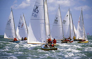 Fleet of the one design X-Boat races on the Solent during Cowes Week, UK, 2001.  -  Rick Tomlinson