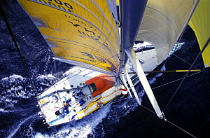 """Aerial shot from the masthead into the cockpit on """"Team EF"""" in the Atlantic during the Whitbread Round the World Race, 1997. She had an all female crew.  -  Rick Tomlinson"""