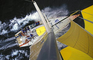 """Aerial view from the masthead of """"EF Language"""", competing in the Whitbread Round the World Race 1997-98. ^^^The team went on to win the overall campaign.  -  Rick Tomlinson"""