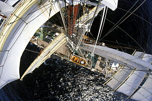 """View from the masthead of the Polish Tall Ship """"Dar Mlodziezy"""".  -  Rick Tomlinson"""