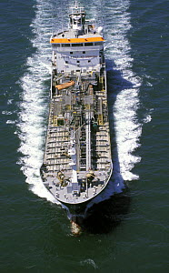 Aerial view of an oil tanker as it powers through the sea.  -  Rick Tomlinson
