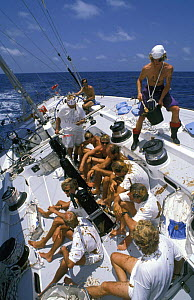 """Crew aboard """"The Card"""" as they cross the equator during the Whitbread Round the World Race, 1989. - Rick Tomlinson"""