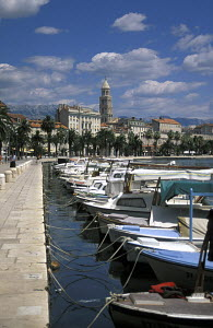 Boats moored in a line along the quayside with the old town and Diocletian's palace in the background. Split, Croatia.  -  James Boyd