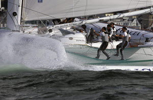 """The bows of the 60ft ORMA trimaran """"Foncia"""" beginning to nose dive. For EDITORIAL use only. - Yvan Zedda"""