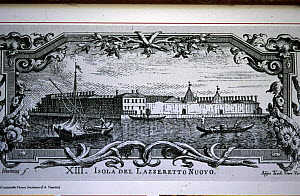 Antique ink print of Lazzaretto Nuovo and its monastery. Lazzaretto Nuovo is an island in the Venetian lagoon in the beginning of Sant'Erasmo channel.  -  Roberto Rinaldi