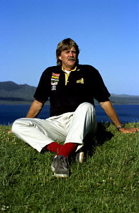 """Sir Peter Blake of """"Team New Zealand"""" wearing his lucky red socks. America's Cup 2000, Auckland, New Zealand. - Franck Socha"""