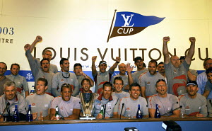 "Ernesto Bertarelli and his crew celebrating the victory of winning the Final, Race 6 and the Louis Vuitton Cup 2002/03, Auckland, New Zealand. ^^^""Alinghi"" (SUI-64) won the match against ""Oracle BMW""...  -  Franck Socha"