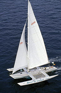 """""""Spirit of Ireland"""" skippered by Irishman Rob Deasey during the Europe 1 Star in 1992. ^^^ Rob was run through by a submerged log and the main hull flooded, making the boat unstable. He was picked up...  -  Rick Tomlinson"""