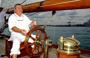 """""""Moonbeam"""", during the Millenium Cup with founder Peter Harrison at the helm, Auckland, New Zealand, 2003.  -  Rick Tomlinson"""