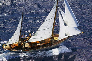 "The 1934 44ft Alfred Westmacott design ""Flicka"" racing in breezy conditions at Antigua Classic Yacht Regatta, Caribbean, 2004.  -  Onne van der Wal"