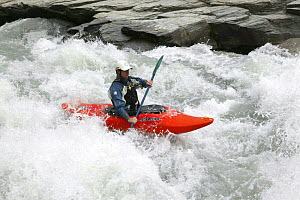 White water canoeing, Shotover River, Queenstown, New Zealand.  -  Barry Bland