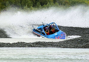 Jet sprint racing, Waimakariri River, Christchurch, New Zealand. ^^^Jet sprint boat racing is a form of racing sport where trailerable speed boats, powered by water jet propulsion rather than by conve... - Barry Bland