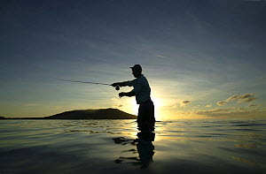 Salt water fly fishing at sunset, on the sand banks of Tevawa, Fiji.  -  Barry Bland