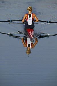 Czech Mirka Knapkova, women's single sculls heat, Olympic Games 2004, Athens, Greece. 14th August 2004.  Editorial Use Only.  -  Barry Bland