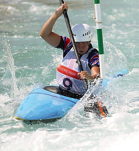 British Olympic K1 kayaker, Helen Reeves, practising at the Olympic Kayaking Centre, Olympic Games 2004, Athens, Greece.  Editorial Use Only.  -  Barry Bland