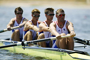 British men's coxless four heat with Pinsent, Coode, Cracknell and Williams, Olympic Games 2004, Athens, Greece. 14th August 2004.  Editorial Use Only.  -  Barry Bland