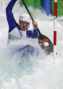 British Olympic C1 Kayaker Stuart McIntosh practising at the Olympic Kayaking Centre, Athens, Greece, 2004.  Editorial Use Only.  -  Barry Bland