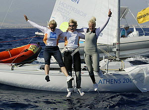 Women's Yngling crew Shirley Robertson, Sarah Webb and Sarah Ayton celebrate after winning Great Britain's first Gold Medal at the Olympic Games, Athens, 19 August 2004.  Editorial Use Only.  -  Barry Bland