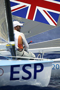 Ben Ainslie completes the 10th round of the Single Handed Finn during the Olympic Games, Athens, Greece, 19 August 2004.  Editorial Use Only.  -  Barry Bland