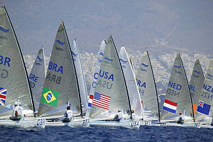 Finn race start at the Athens Olympics, Greece, 19 August 2004.  -  Barry Bland