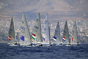 Men's Finn sailing at the Olympic Games, Athens, Greece, 19 August 2004.  Editorial Use Only.  -  Barry Bland