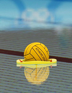 Water polo ball during the Olympic Games 2004, Athens, Greece, 19 August 2004.  Editorial Use Only.  -  Barry Bland