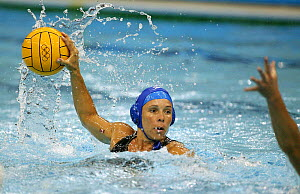 A player takes on her opponent at a women's water polo match, Olympic Games 2004, Athens, Greece.  Editorial Use Only.  -  Barry Bland
