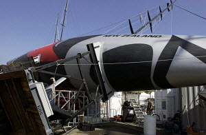 """""""Team New Zealand"""" after being blown off its cradle by a violent storm on 11th September 2004, Louis Vuitton Act 1, Marseilles, France. ^^^ """"Team New Zealand"""", """"BMW Oracle Racing"""" and """"Team Alinghi"""" w... - Franck Socha"""