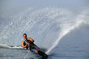 A waterskiier carving through the water, Marverde, Turkey.  -  Barry Bland