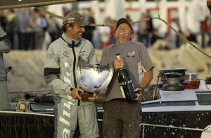 "Ernesto Bertarelli of ""Alinghi"" holding the trophy for winning Louis Vuitton Act 3 with Grant Dalton from Emirates ""Team New Zealand"" holding champagne for coming second. Louis Vuitton Act 3, Valencia...  -  Franck Socha"
