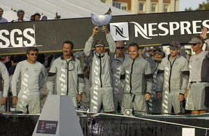 "Crew of ""Alinghi"" with Ernesto Bertarelli  holding the trophy for winning Louis Vuitton Act 3, Valencia, Spain, October 2004.  -  Franck Socha"