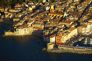 An aerial view of the town of St Tropez, South of France.  -  Onne van der Wal