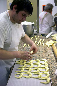 Making croissants in a St Tropez bakery, France.  -  Onne van der Wal