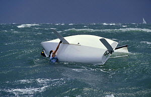 470 dinghy capsize during the 1996 Atlanta Olympic games off Savannah, Georgia, USA - Onne van der Wal