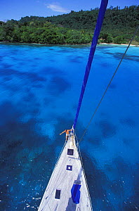 View from the top of the mast of a cruising yacht anchored at Champagne Beach, Vanuatu.  -  Onne van der Wal