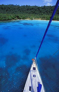 View from the top of the mast of a cruising yacht anchored at Champagne Beach, Vanuatu. Property Released.  -  Onne van der Wal