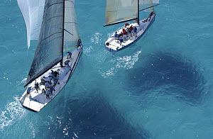 """TP52 """"Bambakou"""" with Farr 40 """"Canvasback"""" on day 3 at Acura Miami Race Week USA, March 12th 2005.  -  Rick Tomlinson"""