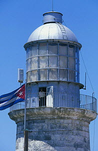 The derelict lighthouse that stands at the entrance to Havana Harbour, Cuba.  -  Onne van der Wal