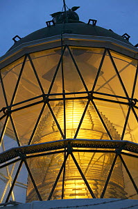 The light inside a lighthouse at night, South Island, New Zealand.  -  Onne van der Wal