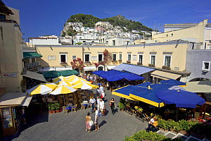 Small piazza with a cluster of shops, restaurants and cafes in the village of Anacapri, Capri, Bay of Naples, Italy.  -  Angelo Giampiccolo